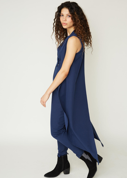 Sleeveless Tailcoat Jumpsuit in Ink View 2