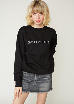 EMBROIDERED SWEET POTATO CREW  SWEATSHIRT