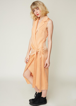 Knotted Tux Dress in Apricot Satin View 2
