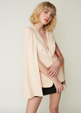 Caped Blazer in Soft Blush View 2