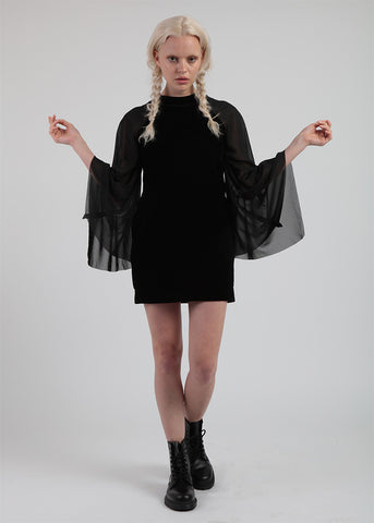 Black Velvet Dress With Chiffon Flare Sleeves