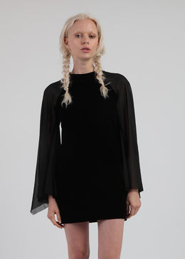 Black Velvet Dress With Chiffon Flare Sleeves View 2