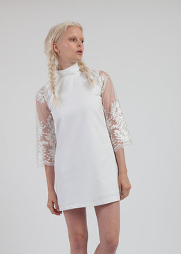 White Lace Mod 1960s Dress View 2
