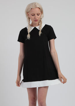Babydoll Black Dress With Peter Pan Collar View 2