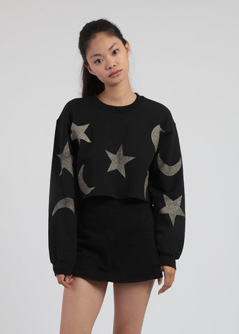 Cropped Moon and Star Sweater