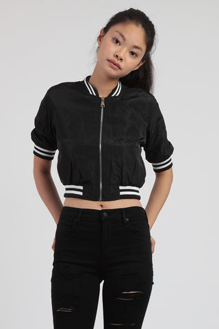Strike Out Cropped Bomber Jacket