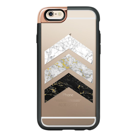 iPhone 6/6S Case in Gold Flecked Marble Chevron