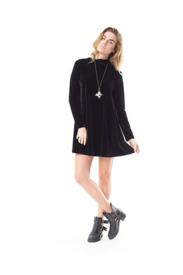 Farewall Long Sleeve Mini Black Dress