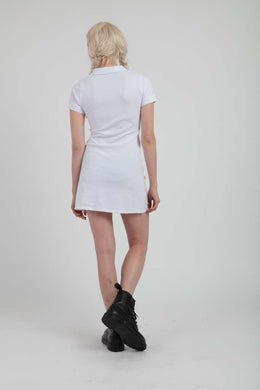 Tabbi Polo Dress in White View 2