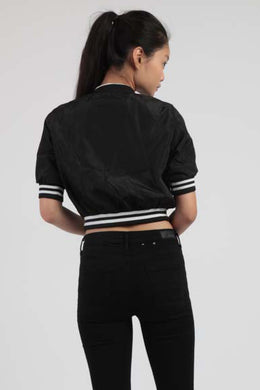 Strike Out Cropped Bomber Jacket View 2