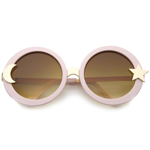 Oversize Moon and Star Round Sunglasses