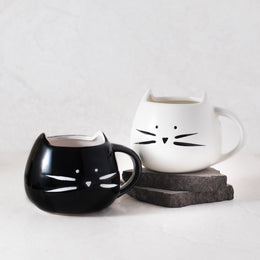 Cat Mug Set - Black And White Ceramic Cup View 2