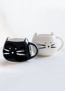Cat Mug Set - Black And White Ceramic Cup