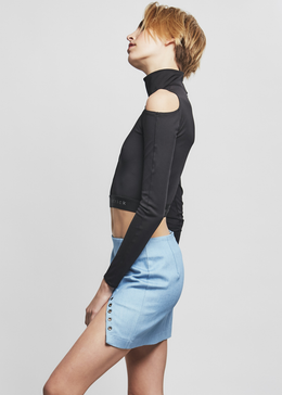 Cold Shoulder Turtleneck in Black View 2