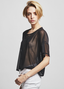 Cropped Mesh Tee in Black View 2