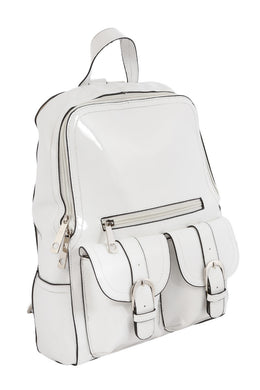 Mini White Vinyl Backpack View 2