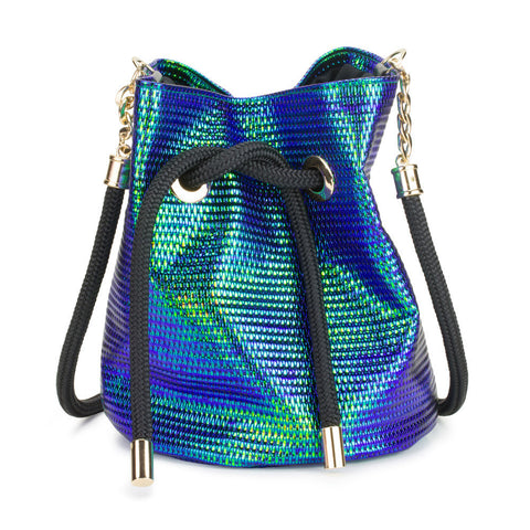Iridescent Blue-Green Bucket Bag