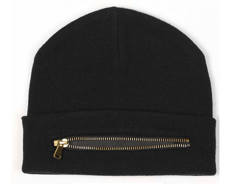 Black Silver/Gold Zip Beanie