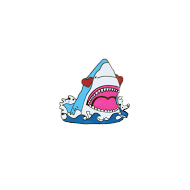 Love Shark Enamel Pin View 2
