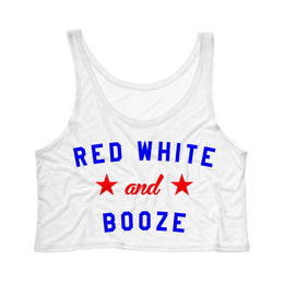 Red White and Booze Crop Top