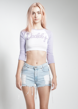 Cropped Daddy Baseball Tee in Lavender View 2