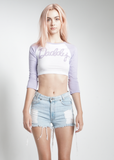 Cropped Daddy Baseball Tee in Lavender