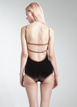 V-Strap Bodysuit in All Brown View 2