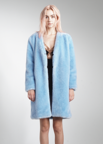 Faux Fur Collarless Long Coat