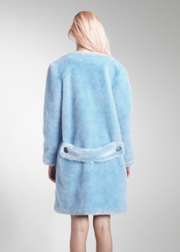 Faux Fur Collarless Long Coat View 2