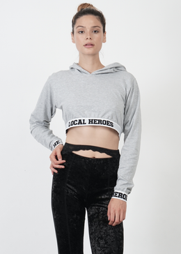 LH Cropped Hoodie in Grey View 2