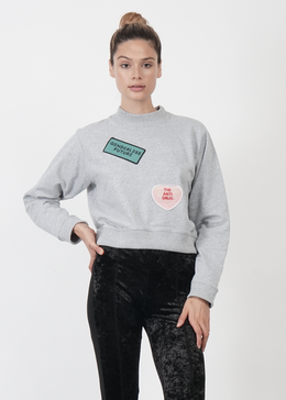 Lucid Crop Unisex Sweater in Grey