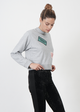 Lucid Crop Unisex Sweater in Grey View 2