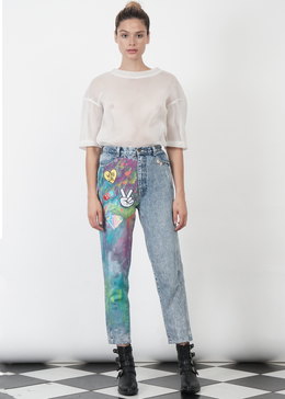 Vintage Painted Denim Pants View 2