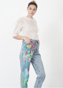 Vintage Painted Denim Pants
