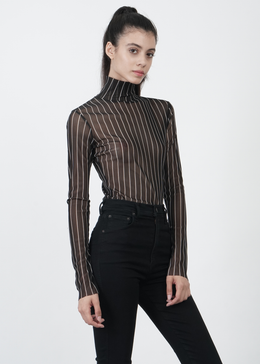 Sheer Striped Turtleneck in Black View 2