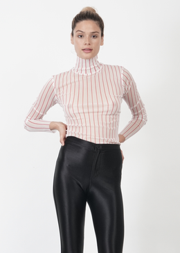 Sheer Striped Turtleneck in Red