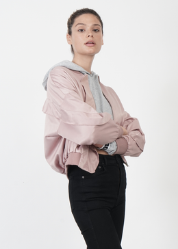 Wave Bomber Jacket in Pink View 2