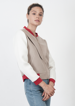 Red and White Bomber Jacket View 2