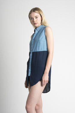 Shawna Button Up in Indigo View 2