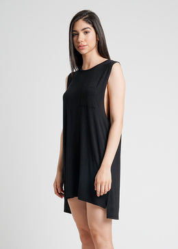 Easy Livin Pocket Shirt Dress in Black View 2
