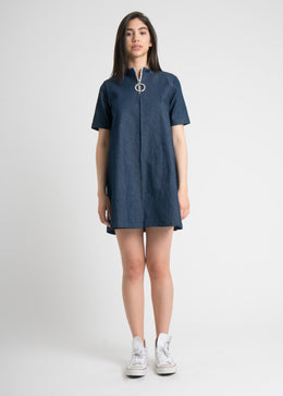 Double Box Pleat Dress in Denim View 2