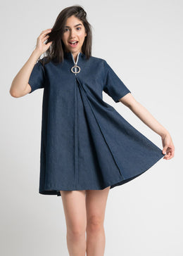 Double Box Pleat Dress in Denim
