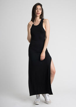 Racerback Maxi Slit Dress in Black