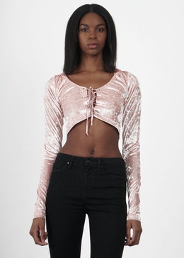 Velvet Crush Lace Up Hoodie in Pink