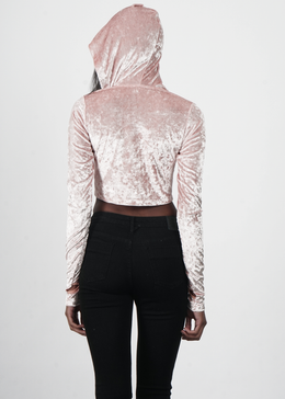 Velvet Crush Lace Up Hoodie in Pink View 2