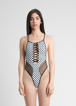 Lace-up Polka Dot One-Piece