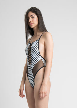 Lace-up Polka Dot One-Piece View 2