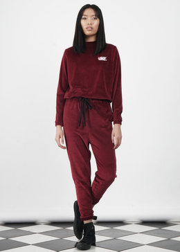 Velour Jumper in Burgundy