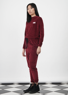 Velour Jumper in Burgundy View 2