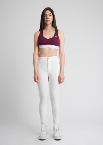 High Rise Cropped Jegging Pants in White